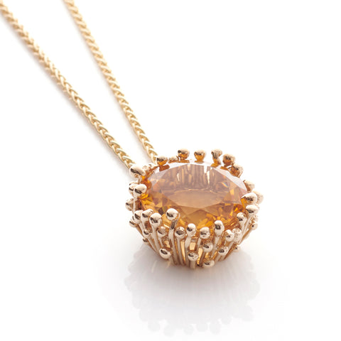 Statement Citrine Gold Pendant