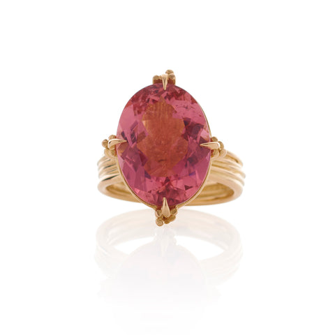 Statement Oval Pink Tourmaline 18ct Gold Ring