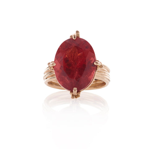 Statement Oval Red Tourmaline Gold Ring