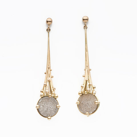 White Gold Druzy Drop Earrings