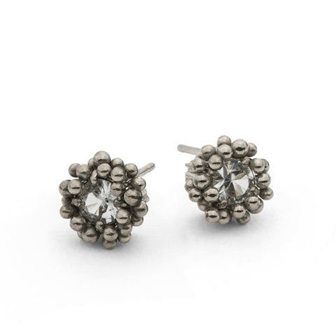 White Gold White Sapphire Stud Earrings