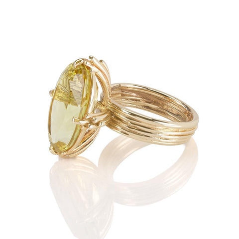 Statement Oval Yellow Beryl 9ct Ring