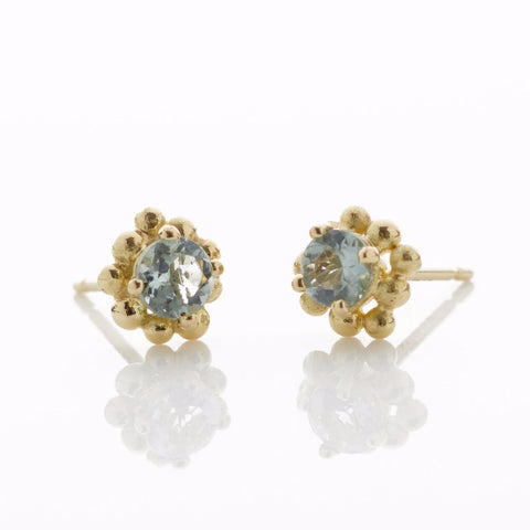 Yellow Gold Beryl Stud Earrings