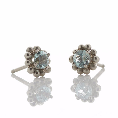 White Gold Beryl Stud Earrings