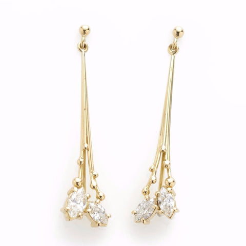 Gold Marquis Diamond Drop Earrings