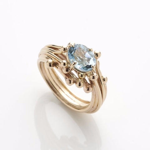 Entwine Oval Aquamarine Ring