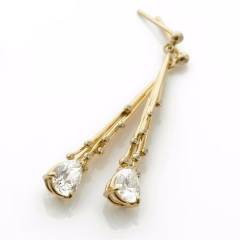 Pear Drop Diamond Gold Earrings