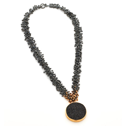 Black Silver and Gold Drusy Necklace