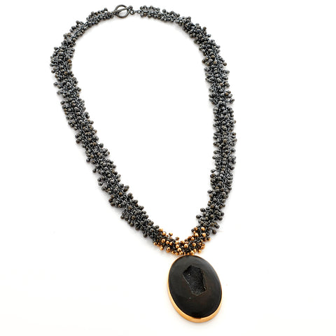 Black Silver and Gold Druzy Necklace