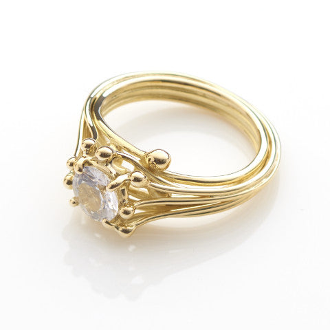 Gold Solitaire White Sapphire Ring