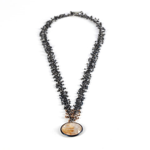 Rutilated Quartz Black Silver and Gold Necklace