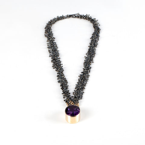 Amethyst Black Silver and Gold Necklace