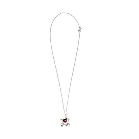 Silver Ruby Pendant Necklace