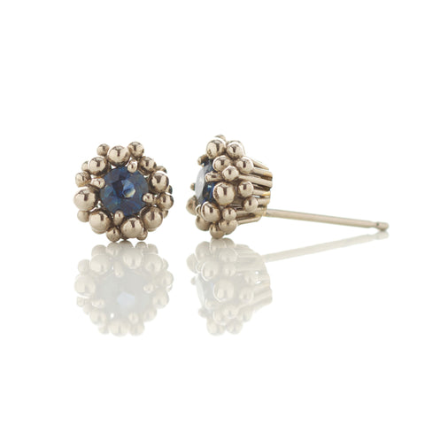 White Gold Blue Sapphire Stud Earrings