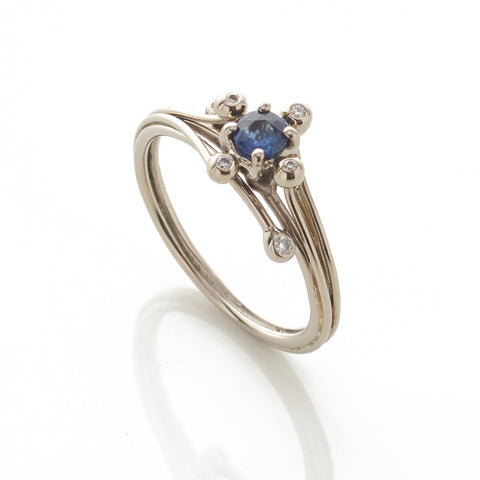 White Gold Solitaire Blue Sapphire Ring