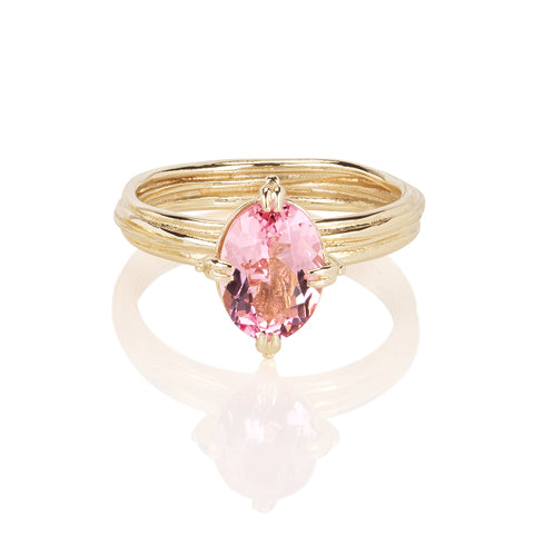 Oval Morganite Fine 14ct Gold Ring