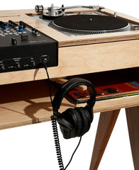 The headphone hook is right where you need it on our DJ furniture.