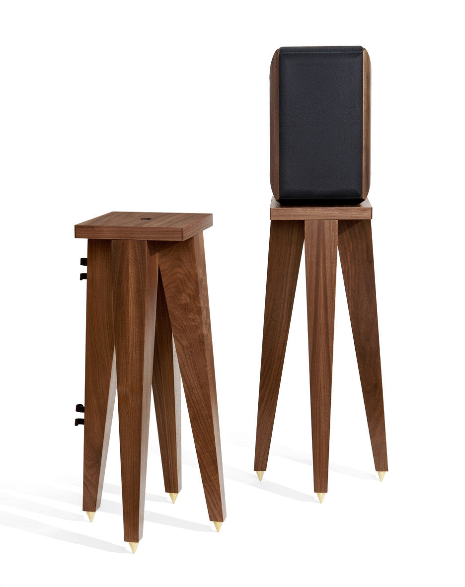 Our Speaker Stand set shown with a bookshelf speaker.