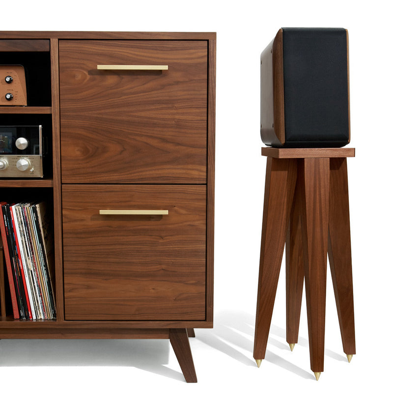 Our Speaker Stands look snazzy, and bright brass drawer pulls are available to match the points.