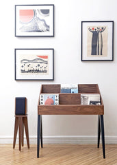 Atocha Design Record Stand in Walnut & Black, with our Speaker Stand & art by Yuri Shimojo
