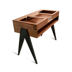 Atocha Design DJ Stand Battle Style, Walnut with ebonized Walnut legs