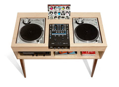Technics and Audio-Technica (shown) decks nest inside the Atocha Design DJ Console.