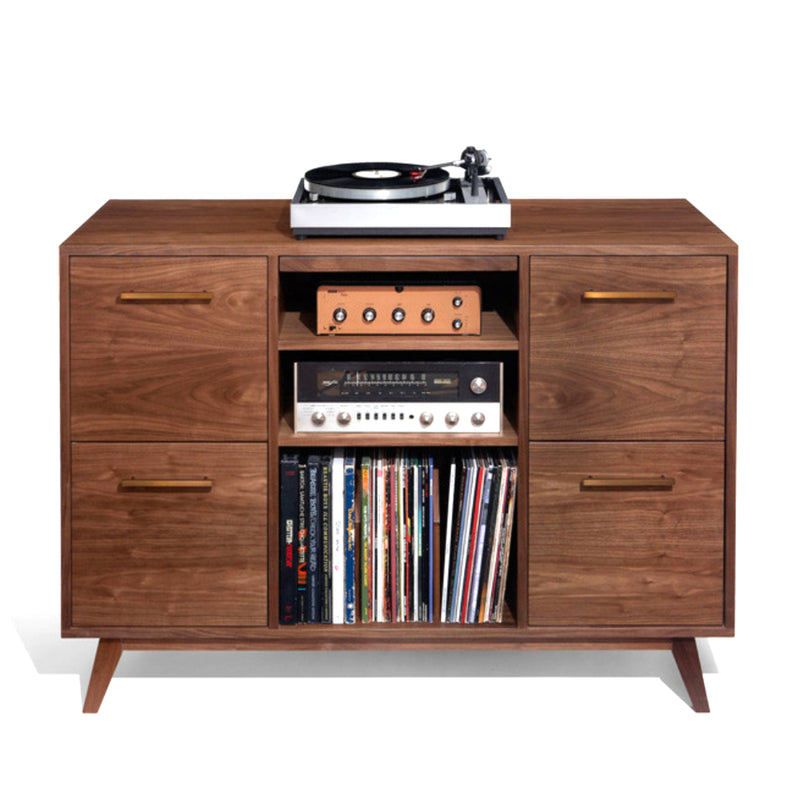 Open/Close 4 LP Drawer Record Cabinet