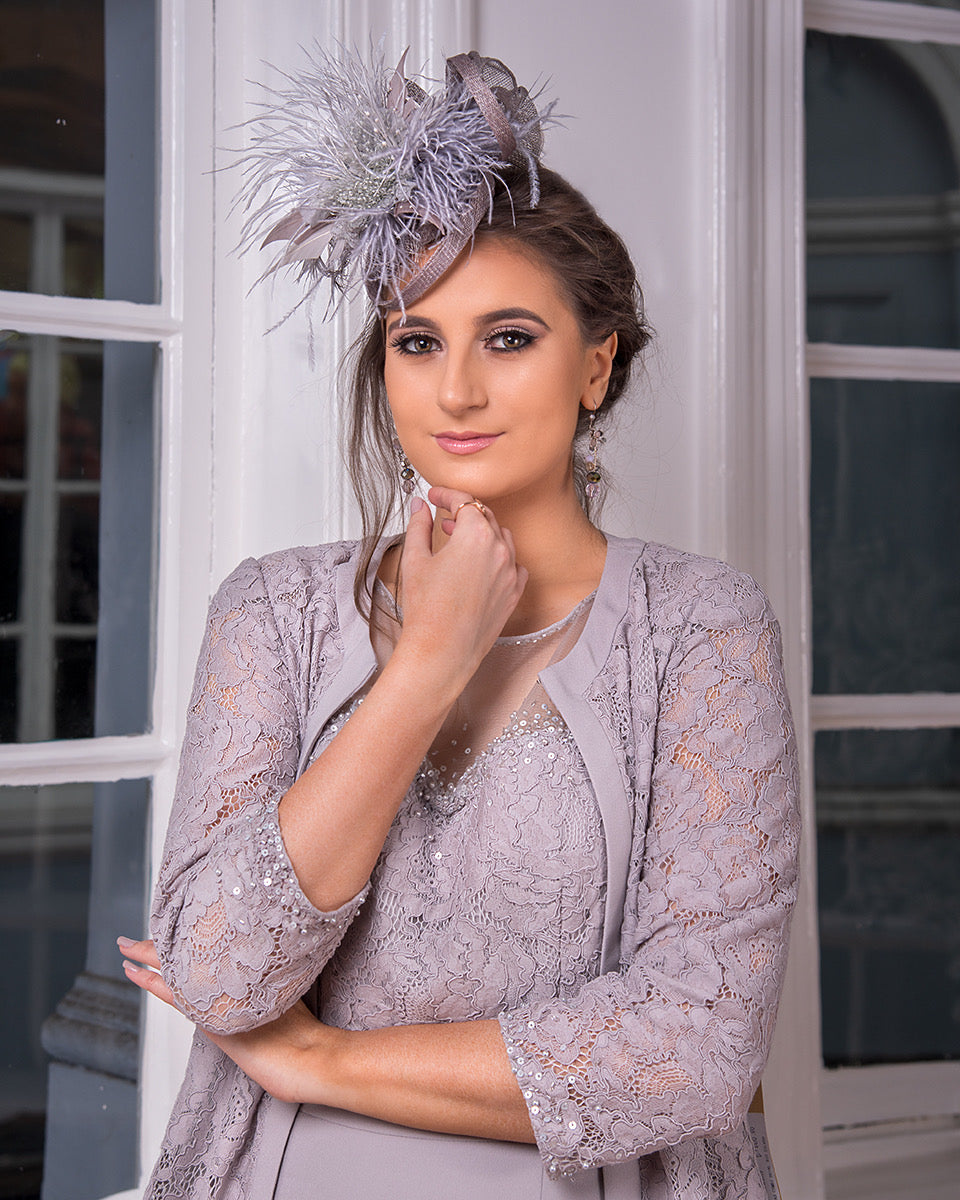 Grey Feather Fascinator