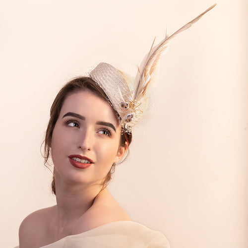 Cream Feather Fascinator