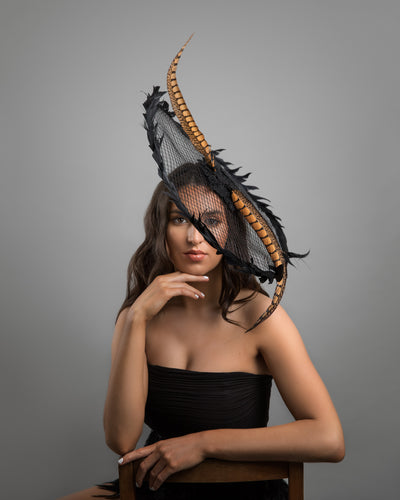 Feather Sinamay Fascinator