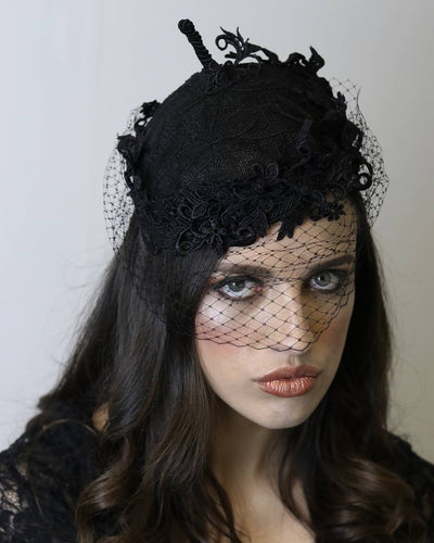 Black Felt Hat With Lace Embroidery