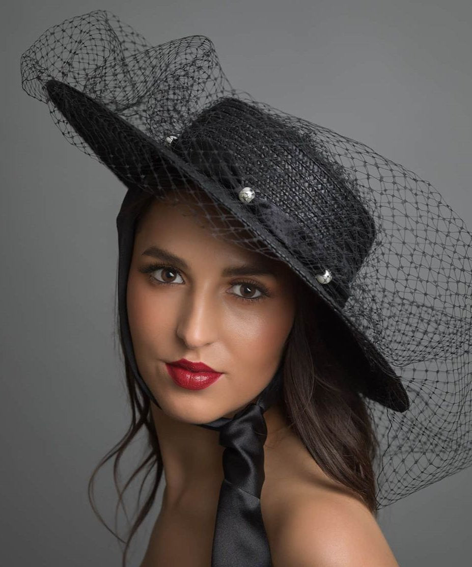 Black Boater Hat With Pearls