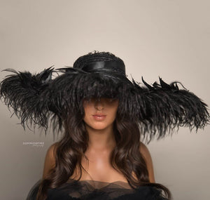 Oversized Black Feather Hat