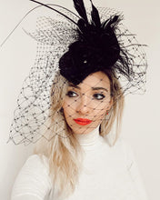 Load image into Gallery viewer, Tall Feather Fascinator With Veil