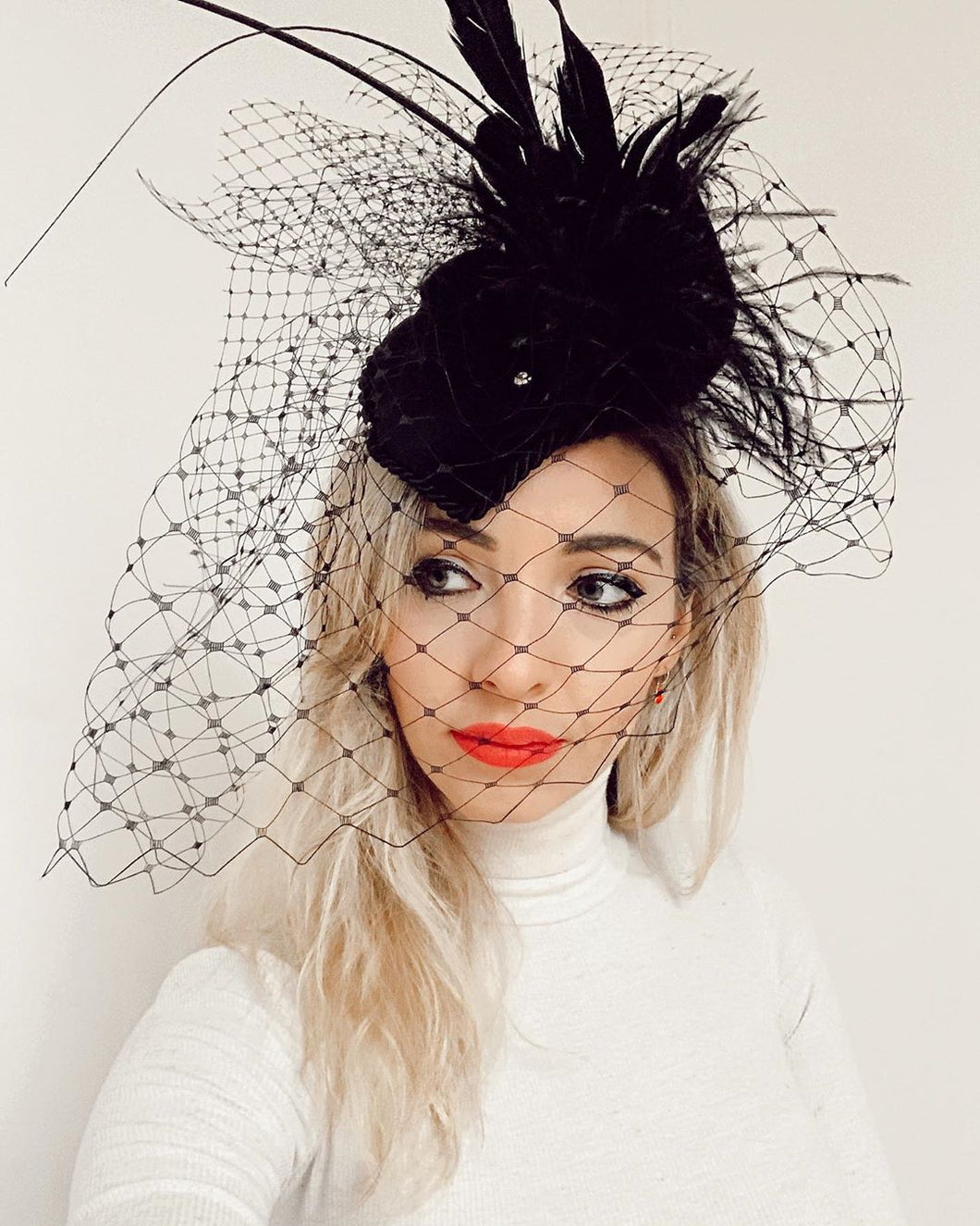 Tall Feather Fascinator With Veil