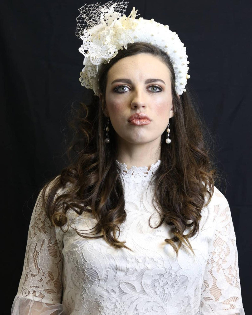 White Lace Head Band With Pearls