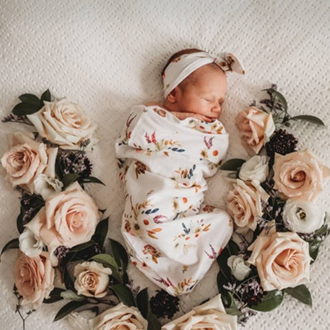 Boho Posy Snuggle Swaddle & Topknot Set