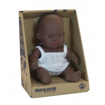 Miniland Doll - Anatomically Correct Baby, African, 21 cm