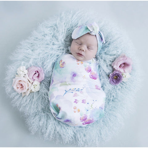 Sweet Petal Snuggle Swaddle & Topknot Set