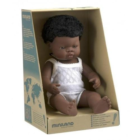 African Boy Miniland Doll - Anatomically Correct Baby, 38 cm