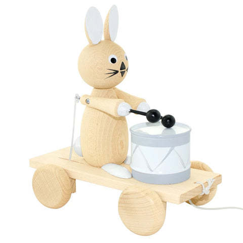 Wooden Pull Along Rabbit With Drum - Mabel