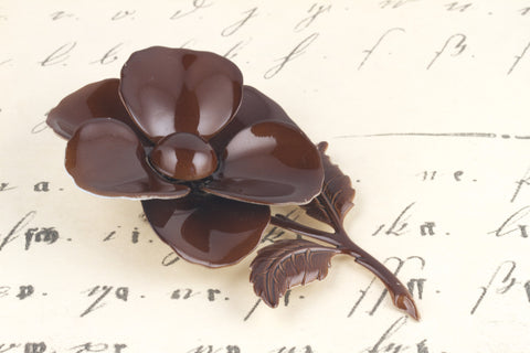 1950's Brown Enameled Metal Flower Brooch