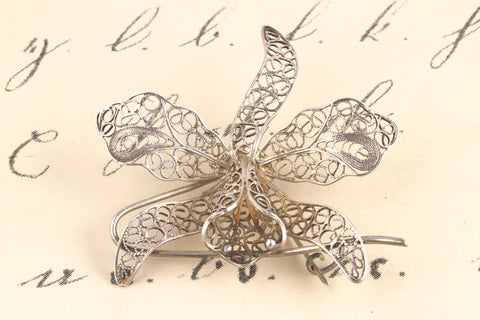 1930's Filigree Orchid Brooch