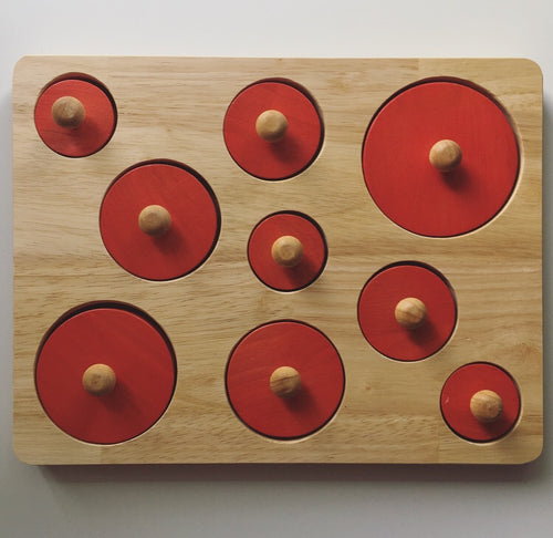 Montessori Inspired Red Circles Size Puzzle
