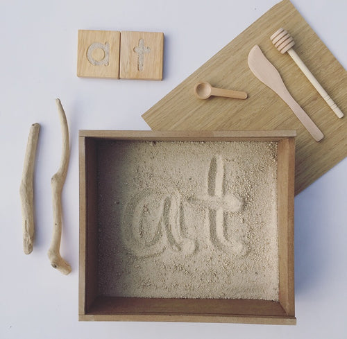 Montessori Inspired Sand Tray, Natural Sand & Fine Motor Set