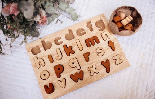 Montessori Inspired Natural Lowercase Letter Puzzle - Literacy Resource