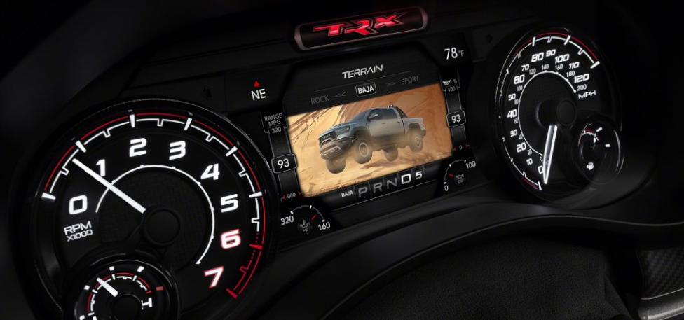 2021 Ram 1500 TRX Uconnect 4C 12-inch touchscreen  with Off-Road Pages