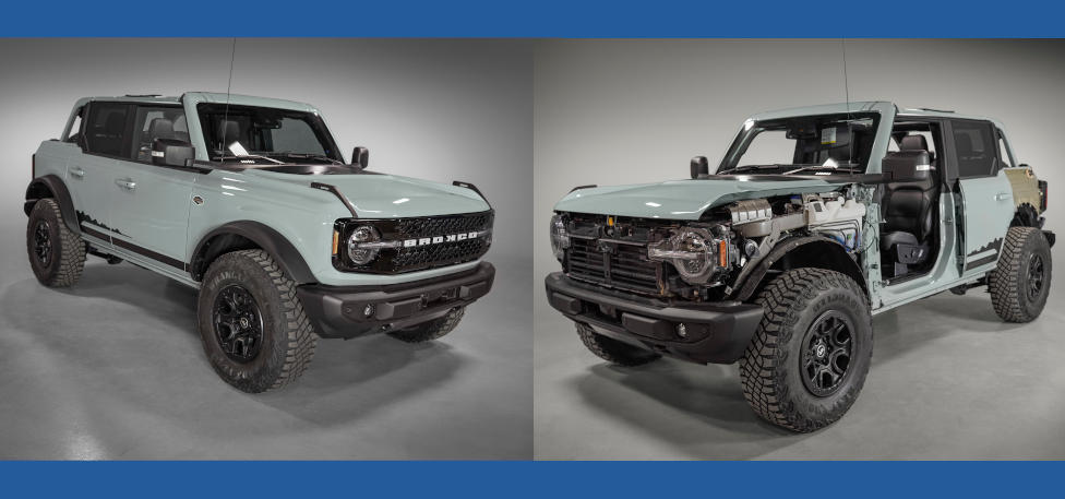 2021 Ford Bronco with and without modular components
