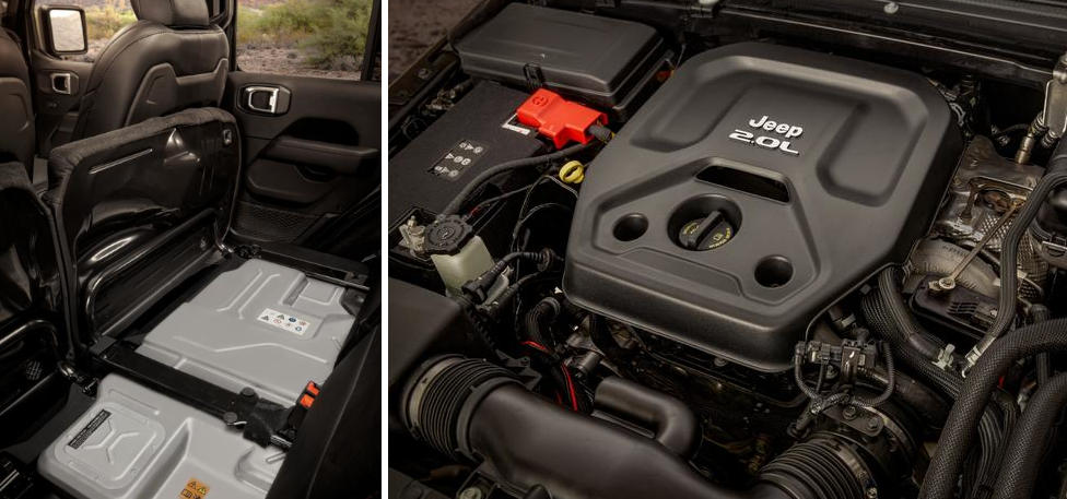 2021 Jeep Wrangler Rubicon 4xe battery and engine