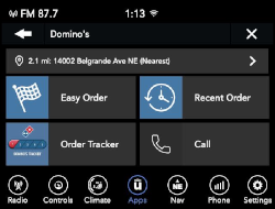 Uconnect Market lets drivers order and pay for Dominos from their vehicle touchscreen.